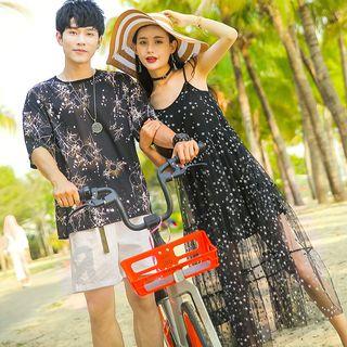 NoonSun - Couple Matching Printed Short-Sleeve T-Shirt / Midi Spaghetti Strap Dress