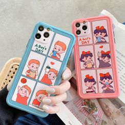 SIFFU - Couple Matching Cartoon Print Phone Case - iPhone 11 Pro Max / 11 Pro / 11 / XS Max / XS / XR / X / 8 / 8 Plus / 7 / 7 Plus / 6s / 6s Plus