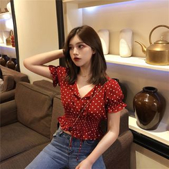 Baage - Cropped Puff-Sleeve Blouse
