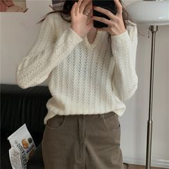 IKIO - Long-Sleeve Pointelle Knit Top