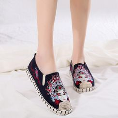 Kyotopia - Chinese Opera Embroidered Espadrille Slip-Ons / Flat Mules