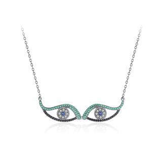 BELEC - Simple and Creative Double Eye Necklace with Cubic Zirconia