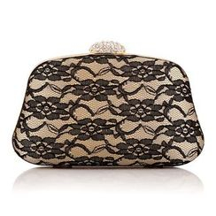 Moonflower - Lace Rhinestone Clutch