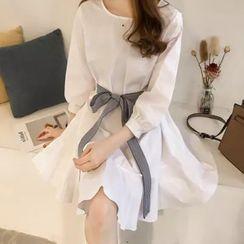 Foreka - 蝴蝶結裝飾長袖直身連衣裙