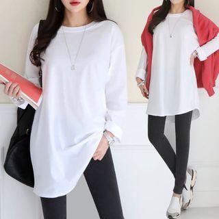 Seoul Fashion(ソウルファッション) - Round-Neck Plain Long T-Shirt
