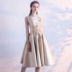 Remme - Sleeveless Floral A-Line Evening Dress