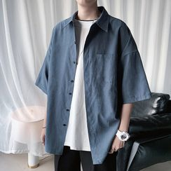 Priam - Elbow-Sleeve Plain Shirt