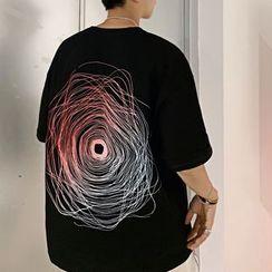 DragonRoad - Elbow-Sleeve Print T-Shirt