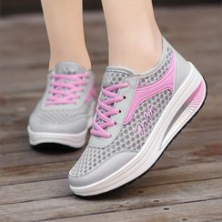 MINIKA - Platform Wedge Mesh Sneakers