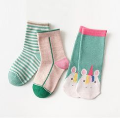 Knit a Bit - Kids Set of 3: Printed Crew Socks