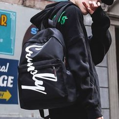 SUNMAN - Couple Matching Lettering Nylon Backpack