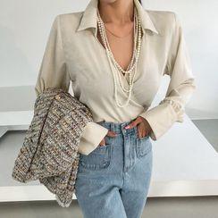 DABAGIRL - Surplice-Wrap Short Shirt