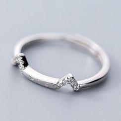 A'ROCH - 925 Sterling Silver Rhinestone Cat Ear Open Ring