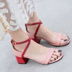 Freesia - Contrast Color Open Toe Chunky Heel Sandals