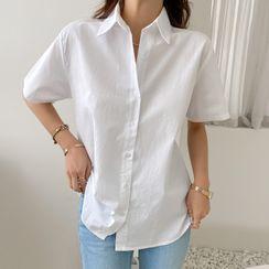 DABAGIRL - Short-Sleeve Cotton Shirt
