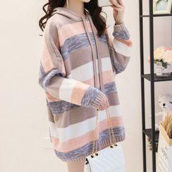 lilygirl - Hooded Striped Mini Sweater Dress
