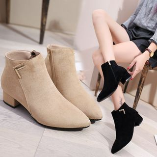 Belbie - Block Heel Pointed Ankle Boots
