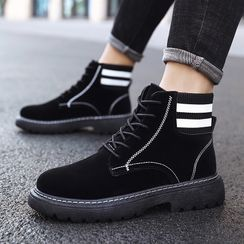 Auxen - Striped Lace-Up Short Boots