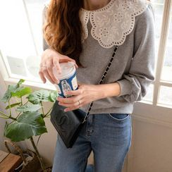 LEELIN(リーリン) - Embroidered Collar Sweatshirt