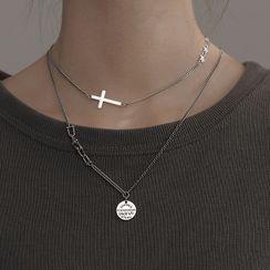 SWART - 字母圆片吊坠纯银项链 / 十字吊坠纯银贴脖项链