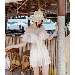 Higun  - 镂空肩网纱泳裙