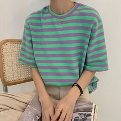 Moon City - Striped Elbow-Sleeve T-Shirt