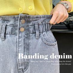 DEEPNY - Paperbag-Waist Baggy Jeans
