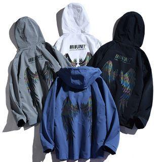 Rampo - Wings Print Hooded Zip-Up Jacket