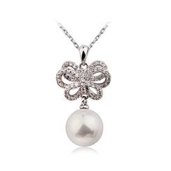 BELEC - Lovely Ribbon Pendant with Fashion Pearl and Necklace