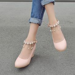 Shoes Galore - Embellished Ankle Strap Wedges