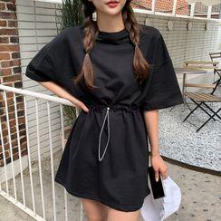 Envy Look - Drawstring-Waist T-Shirt Minidress
