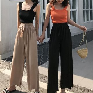 Kokuko - Knitted Camisole Top / High Waist Wide-Leg Pants