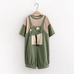 Cat Planet - 套裝: 拼色中袖T裇 + 背帶短褲