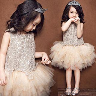 HELLO BABY - Kids' Crochet Panel Tulle Dress