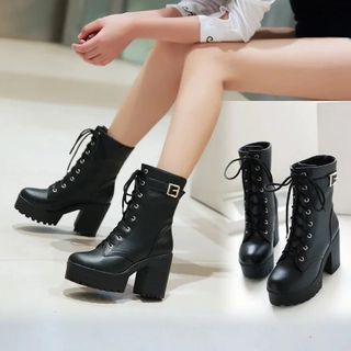 Shoes Galore(シューズガロア) - 厚底ブロックヒール レースアップ ショートブーツ