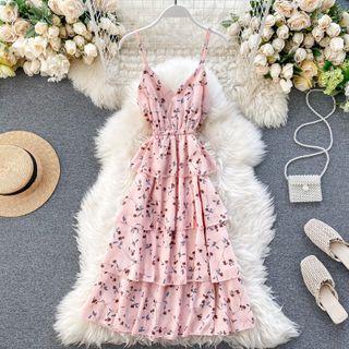 Lucuna - Spaghetti Strap Floral A-Line Dress