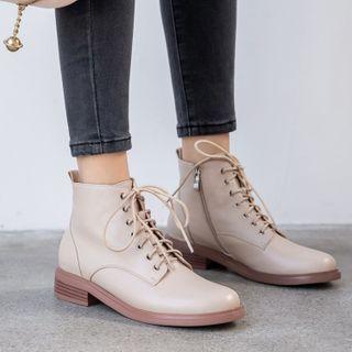 Gillaro - Block Heel Lace Up Short Boots