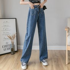 Thous - 高腰宽腿牛仔裤