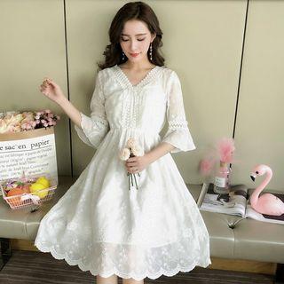 EFO - V-Neck Lace Trim Elbow-Sleeve A-Line Dress