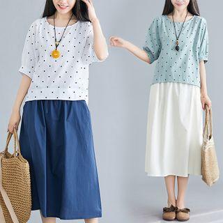 RAIN DEER - Set : Dotted Print T Shirt + Semi Skirt