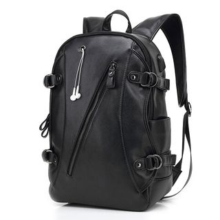 ETONWEAG - Faux Leather Laptop Backpack With Earphone Port