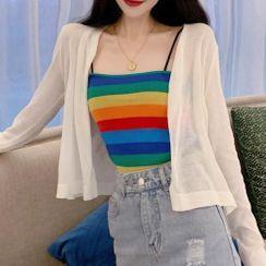 Shinsei - Plain Knit Cardigan / Rainbow Striped Camisole Top