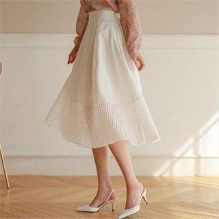 Styleberry - Mesh-Hem A-Line Skirt