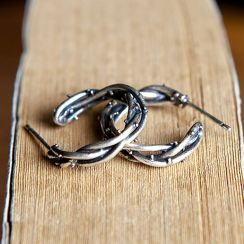 Andante - 925 Sterling Silver Layered Open Hoop Earring