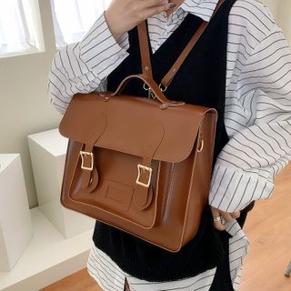 Fianna - Buckled Faux Leather Satchel