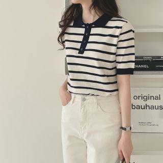 CHERRYKOKO - Striped Knit Polo Shirt