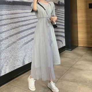 JOWI - Mock Two-Piece Short-Sleeve Midi T-Shirt Dress
