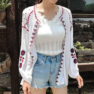 mimi&didi - Long-Sleeve Embroidered Open-Front Cardigan