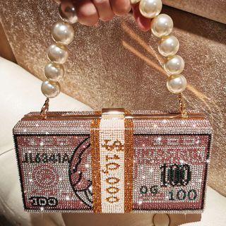 LOLIBOX(ロリボックス) - Faux Pearl Rhinestone Banknote Handbag