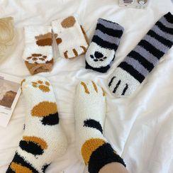 Intimo - Cat Paw Print Coral Fleece Socks